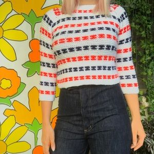Vintage 70s striped crochet cropped sweater XS